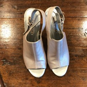 Nine West silver clear heel platforms